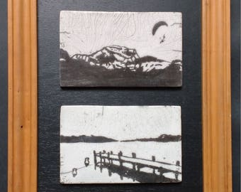 Tableau en céramique raku - Duo Tournette et lac d'Annecy