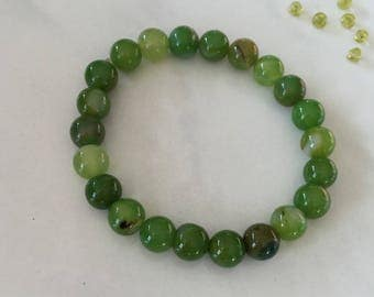 Bracelet en perles d'agate vertes