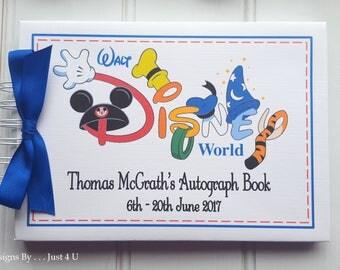 Personalised DISNEY AUTOGRAPH BOOK * Mickey Mouse, Goofy, Donald Duck* Scrapbook Album