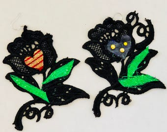 The Black Rose Swarovski NonIdentical Earrings Crochet Lace Unusual Sparkle Green Valentine