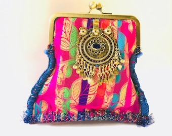 Delbar evening clutch vintage persian jewelry satin silk with red velvet inside