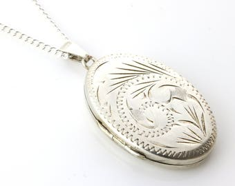 "Vintage Silver Locket with 16"" chain"