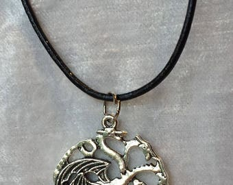 Game of Thrones-3 Headed Dragon Pendant-House Targaryen Pendant Necklace-Game of Thrones Jewelry-Silver-Game of Thrones Necklace-men-women