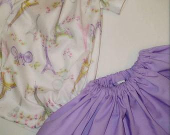 Newborn Girl White & Lavender Paris Skirt Set