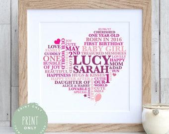 Baby Girl 1st Birthday Print | Baby Heart Nursery Word Art | 1st Birthday Gift | 2nd Birthday Gift | First Birthday Baby Gift | 3rd Birthday