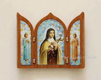 St. Therese of Lisieux Triptych Travel Shrine Made in Italy