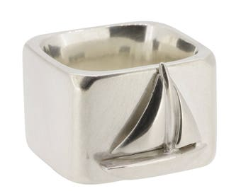 Sailboat square silver ring, jewelry for sailors, sailing, nautical ring