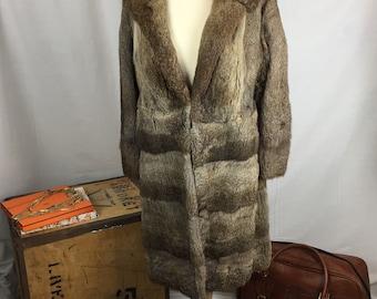 Vintage real fur long coat wedding cover up