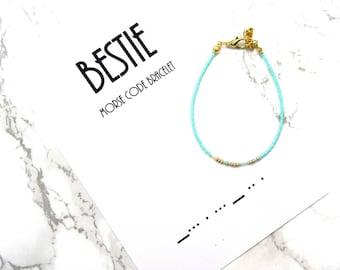 BESTIE Morse Code Bracelet, BFF morse code jewelry, best friends gift, friendship bracelet, minimalist dainty bracelet, sorority bracelet