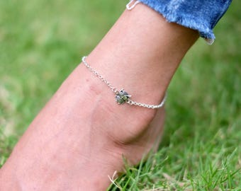 Owl Anklet, Silver Anklet, Owl Charm, Rolo Silver Chain,Delicate Anklet, Silver Foot Chain, Anklet,(AS 43)