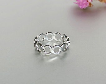 Multiple Infinity Toe Ring, Silver Toe Bands, Simple Toe Ring, Minimalist Toe Ring, Bohemian Toe Ring TS119
