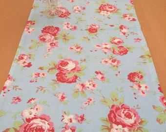 Classic Cath Kidston Blue Rosali Print 100% Cotton Table Runner