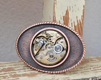 Copper Belt Buckle, Quality Buckle, Steampunk buckle, Vintage Buckle, Unique Belt Buckle, Belt, Buckle, Wedding Gift, Pocket Watch Buckle