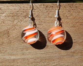 original 16mm orange round twist bead earrings