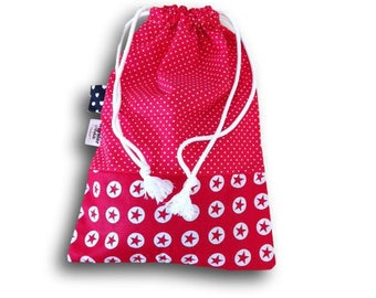 sample printed cotton DrawString bag - red and white polka dots and stars