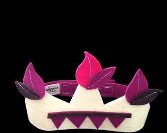 Kids costume accessory - Crown Ecru felt leaves purple and chocolate - King - Queen - Prince - Princess