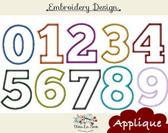 Fonts Applique Block Number , Large, Chunky Applique Numbers Machine Embroidery Designs