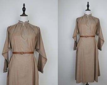 Beige Vintage Tent Dress Stand Collar Long Sleeves Size M-L