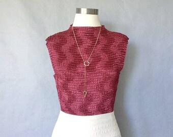 Vintage sleeveless blouse/ minimalist blouse/ wrinkled texture/ silky blouse/ vintage top/ burgundy women's size S/M
