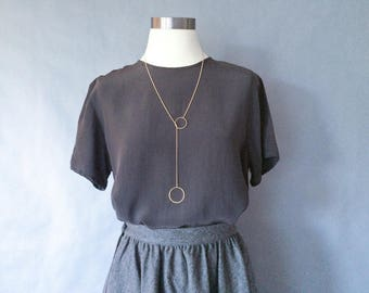 vintage silk blouse/ minimalist silk top/ silk shirt/ 80s silk top women's size S/M