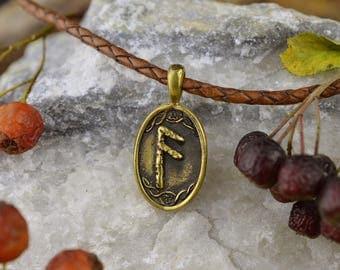 Viking Runes Pendant. Futhark Ansuz Rune pendant. Bronze Witchcraft Gothic Amulet. Scandinavian Wicca Nordic Pendant. Viking Witch Nekclace.