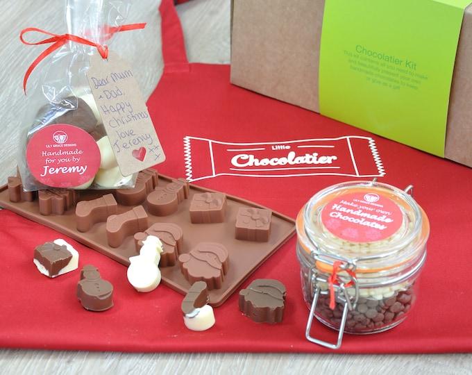 Christmas chocolates, Xmas chocs, snowman, Xmas stocking, candy cane, Christmas present, Santa shape, Making chocolates with my child