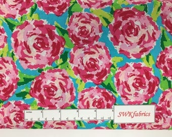 Pink Roses Fabric, Watercolor Floral Fabric,  Fabric by the yard, Fat Quarter, Quilting Fabric, Apparel Fabric, 100% Cotton Fabric, F-7
