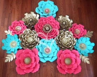 13 piece paper flowers, nursery flowers, nursery decor, birthday decor, paper flowers
