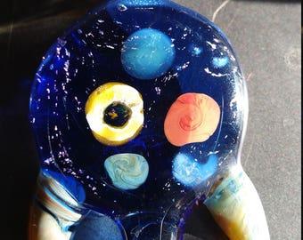 Blue Space Galaxy Glass Pendant w/horns