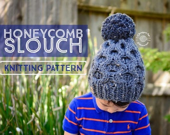 Knit Honeycomb Slouch Beanie PATTERN | Knit Pattern | Slouch Hat | Knit Cables | Cabled Beanie | Knit Beanie | Knit Hat | Instant Download