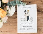 Illustrated Wedding Invitation, Custom Wedding Invitation, Custom Illustration, Printable Wedding Invitation, Wedding Invitation Set, #ITP