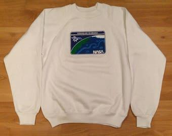 Large 80's NASA Oceans And Ice Branch men's vintage crewneck sweatshirt white earth satellite 1980's Hanes