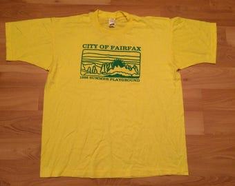XL 1996 City of Fairfax Virginia men's vintage T shirt Summer Playground Virginia VA yellow green 90's 1990's Screen Stars