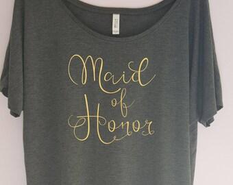 Maid of Honor Shirt,Maid of Honor Tee, Bachelorette Party Shirt, Wedding Shirt, Bride Shirt, Bridesmaid Shirt, Team Bride, Bridal Shirt