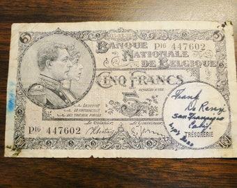 Scarce 1938 Belgium 5 Francs Note - Signed By Treasury Frank De Reenzi San Francisco California - Great Note!