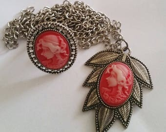 Vintage Style Red Cameo Gift Set