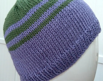 Purple and Green Striped Hand Knitted 100% Bamboo Wool Beanie