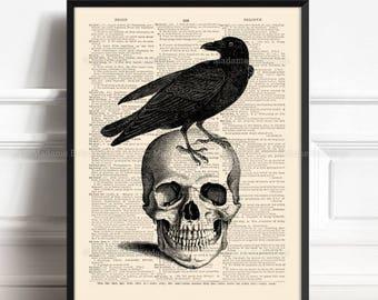 Raven Skull, Skull Artwork, Gothic Poster Gift, Gifts For Him Print, Real Skull Poster, Horror Wall Art, Raven Halloween Art Print Skull 054