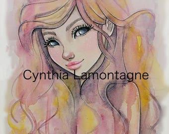 Watercolor girl - Art print