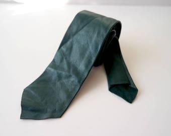 Vintage Dark Green Leather Skinny Tie, Dark Green Leather Necktie, 1980s