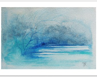 Original Landscape Painting, Small Art Painting, Watercolor Painting, Blue Painting, Modern Kitchen Art, Christmas