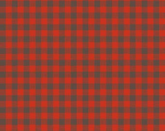 Adventure Plaid Flannel in Red from Riley Blake - cotton brushed printed flannel red black