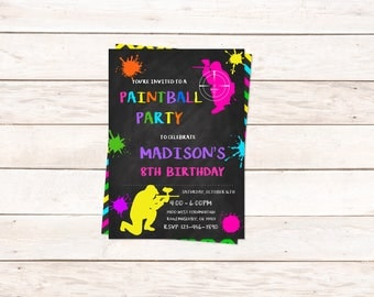 Paintball girl word invitation,INSTANT DOWNLOAD - Edit Yourself in Word. Template Editable Text Microsoft Word.DIY You Print.