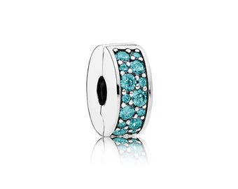 Authentic Pandora Teal Shining Elegance Spacer Clip Charm