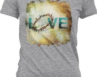 Love, Crown of Thorns Juniors T-shirt, NOFO_01062