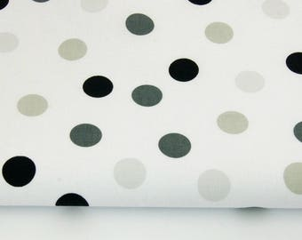 100% cotton fabric piece 160 x 50 cm, handprinted cotton 100% polka dot grey-beige and black on bottom