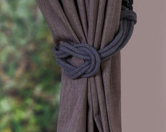 Dark grey Cotton Rope Double Square Knot Nautical Curtain Tie-Backs/ Shabby Chic Curtain hold-Backs / Nursery Window Treatment / Rope Ties