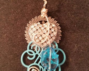 One of a kind handmade pendant....zirconia and turquoise color