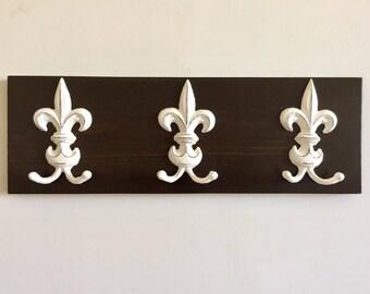 Wall Mounted Coat Rack - Towel Rack - Rustic Coat Hooks- Decorative Hooks - Fleur de Lis