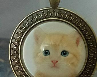 Kitty  cat 2 designs   . glass cabochon pendants  destash  clearance #p46 P45